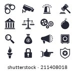 law and order theme monochrome... | Shutterstock .eps vector #211408018