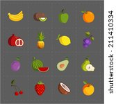 colorful fruit icon set on grey ... | Shutterstock . vector #211410334
