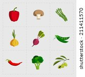 colorful vegetable icon set on... | Shutterstock .eps vector #211411570