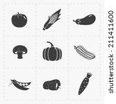 vegetable black icon set on... | Shutterstock .eps vector #211411600