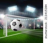 soccer ball flies into the goal   Shutterstock . vector #211415284