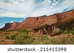 an old pioneer cabin sits in a...   Shutterstock . vector #211415398