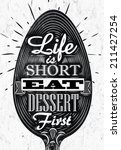 poster spoon lettering life is... | Shutterstock .eps vector #211427254