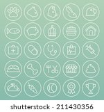 Stock vector set of quality universal standard minimal simple veterinary white thin line icons on color 211430356
