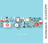 medical flat vector background... | Shutterstock .eps vector #211435294