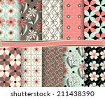 set of  abstract floral vector... | Shutterstock .eps vector #211438390