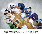 diverse business people working ... | Shutterstock . vector #211445119