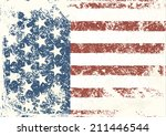 grunge american flag background.... | Shutterstock .eps vector #211446544