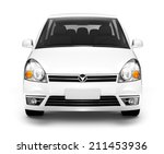 Stock photo studio shot of front view of white car 211453936