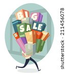 heap of boxes with big sale... | Shutterstock .eps vector #211456078