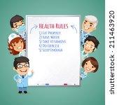 doctors presenting white board. ... | Shutterstock .eps vector #211463920