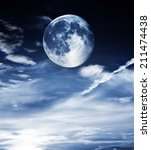 blue full moon on blue... | Shutterstock . vector #211474438