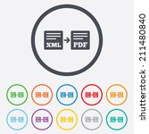 export xml to pdf icon. file... | Shutterstock .eps vector #211480840