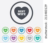 best wife sign icon. heart love ... | Shutterstock .eps vector #211483129