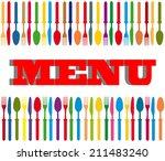 cutlery color background  menu... | Shutterstock .eps vector #211483240