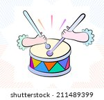 vector drawing of colorful drum ... | Shutterstock .eps vector #211489399