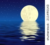moon and his reflection in water | Shutterstock . vector #211490143