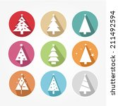 icons set with christmas tree...   Shutterstock .eps vector #211492594