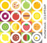 colorful round fruits ... | Shutterstock .eps vector #211495369