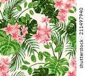 Seamless exotic  pattern with  tropical leaves and flowers. Vector illustration. - stock vector