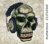 skull in headphones. vector... | Shutterstock .eps vector #211510360