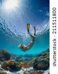 underwater shot of the young... | Shutterstock . vector #211511800