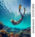 underwater shot of the young...   Shutterstock . vector #211511806