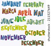 hand drawn month names  cartoon ... | Shutterstock .eps vector #211527649