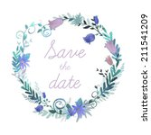 watercolor save the date... | Shutterstock .eps vector #211541209