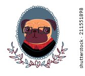 fashionable pug hipster   Shutterstock . vector #211551898