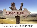 Small photo of Competence wooden sign with a desert background