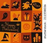 happy halloween card. halloween ... | Shutterstock .eps vector #211558036