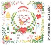 wedding design template set  in ... | Shutterstock .eps vector #211563034