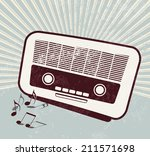 retro poster   old radio  ... | Shutterstock . vector #211571698
