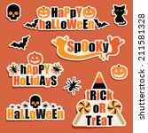 set of halloween labels and... | Shutterstock .eps vector #211581328