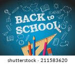 back to school poster with... | Shutterstock . vector #211583620