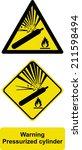 warning pressurized cylinder | Shutterstock .eps vector #211598494