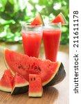 fresh watermelon juice with... | Shutterstock . vector #211611178