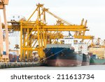 cargo ship loading containers... | Shutterstock . vector #211613734
