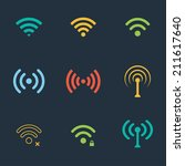collection of color flat wifi... | Shutterstock .eps vector #211617640
