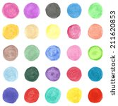 set of colorful watercolor hand ... | Shutterstock . vector #211620853