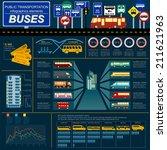 Public transportation infographics. Buses. Vector illustration - stock vector