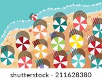 summer beach in flat design ... | Shutterstock .eps vector #211628380