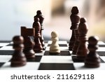 chess board with chess pieces...   Shutterstock . vector #211629118