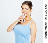 woman drink water with glass .... | Shutterstock . vector #211629520