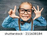 beautiful smiling girl against... | Shutterstock . vector #211638184
