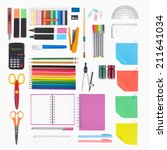 notebook and school or office... | Shutterstock . vector #211641034