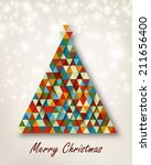 christmas tree with retro... | Shutterstock .eps vector #211656400