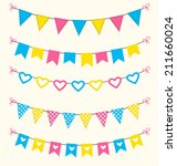 bunting set retro pink  blue ... | Shutterstock .eps vector #211660024