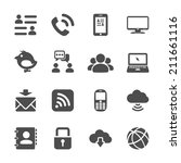internet communication icon set ...